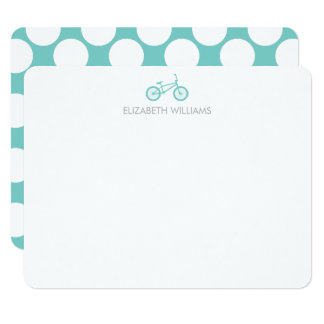 Mint Bicycle and Large Dots Note Cards