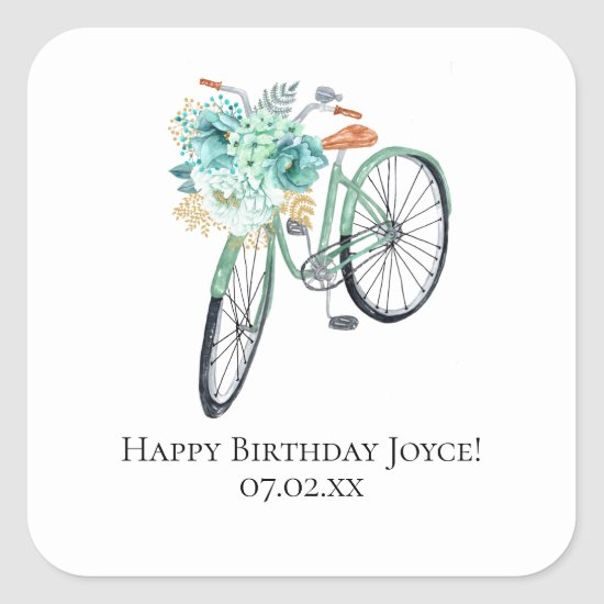 Mint Bicycle Birthday DIY Favors Square Sticker