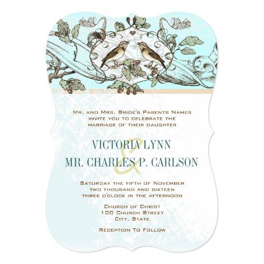 Mint Birds Oak Tree Forest Wedding Invitation