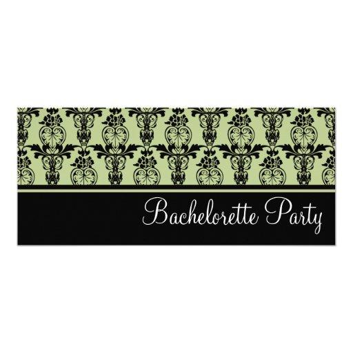 Mint & Black Damask Bachelorette Party Invitation