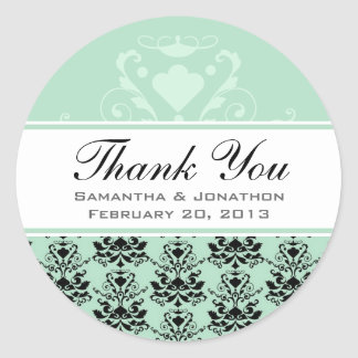 Mint & Black Damask w/ White Wedding Favor Labels
