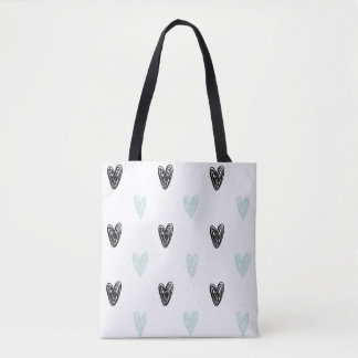 Mint & Black Hearts Doodles Pattern Tote Bag