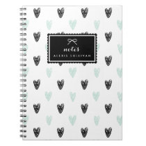Mint & Black Hearts Pattern Personalized Notebook