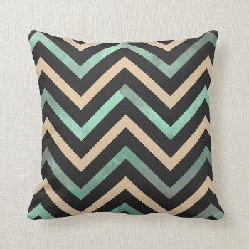 Mint Black Tan Chevron Throw Pillow by OrganicSaturation at Zazzle