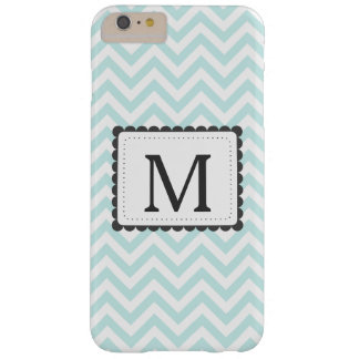 Mint Blue And White Chevron Custom Monogram Barely There iPhone 6 Plus Case