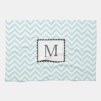 Mint Blue And White Chevron Custom Monogram Kitchen Towels