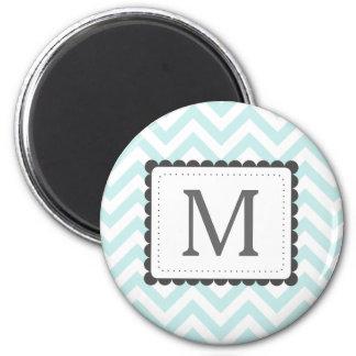 Mint Blue And White Chevron Custom Monogram Magnet
