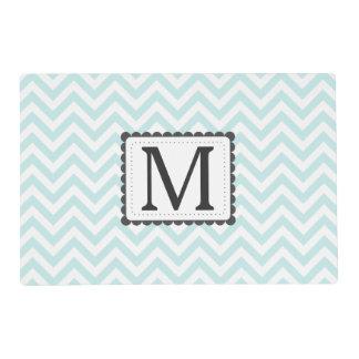Mint Blue And White Chevron Custom Monogram Placemat