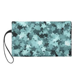 Mint Blue Color Kawaii Stars Background Wristlet Purses