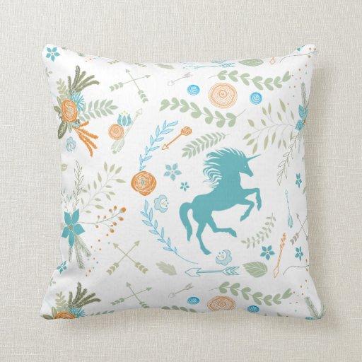 mint blue coral trendy unicorn amp floral pattern pillow
