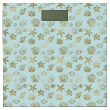 Beach Themed Mint Blue Gold Sea Shells Bathroom Scale