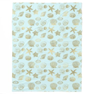 Beach Themed Mint Blue Gold Sea Shells Fleece Blanket