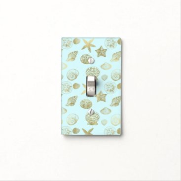 Beach Themed Mint Blue Gold Sea Shells Light Switch Cover