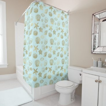 Beach Themed Mint Blue Gold Sea Shells Shower Curtain