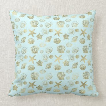 Beach Themed Mint Blue Gold Sea Shells Throw Pillow
