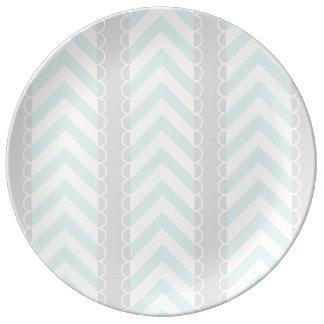 Mint Blue, Gray, White Chevron Stripes Pattern Plate
