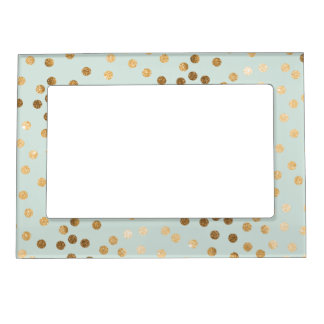 Mint Blue Green and Gold Glitter Dots Magnetic Photo Frame