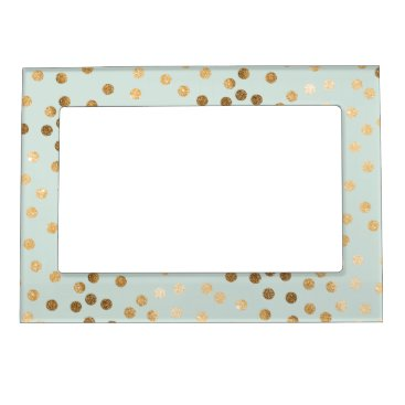 HoundandPartridge Mint Blue Green and Gold Glitter Dots Magnetic Photo Frame