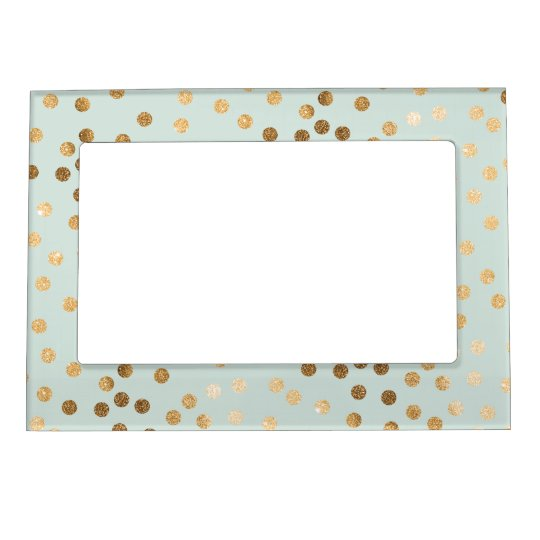 Mint Blue Green And Gold Glitter Dots Magnetic Photo Frame Zazzlecom