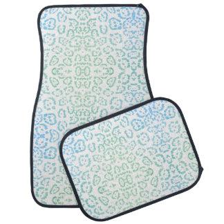 Mint Blue Leopard Pastel Kawaii Animal Print Green Car Floor Mat