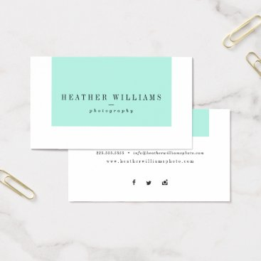 Professional Business Mint Blue Pink Social Media Business Cards
