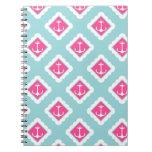 Mint Blue, Pink, White Anchors Nautical Pattern Notebooks