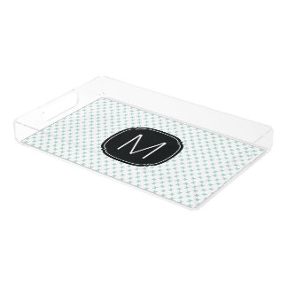Mint Blue Tiny X Pattern on White with Monogram Rectangle Serving Trays