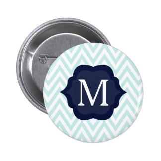 Mint Blue & White Chevron Navy Monogram Design Button