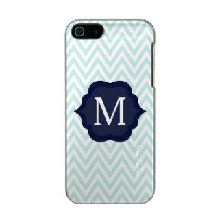 Mint Blue & White Chevron Navy Monogram Design Metallic Phone Case For iPhone SE/5/5s