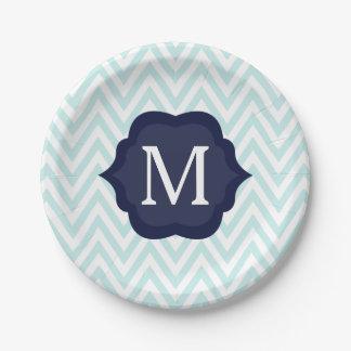 Mint Blue & White Chevron Navy Monogram Design Paper Plate