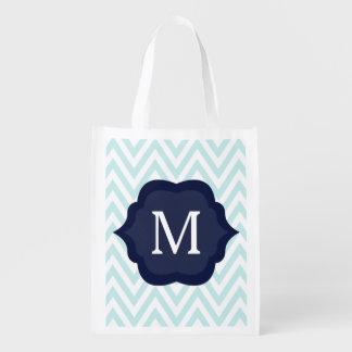 Mint Blue & White Chevron Navy Monogram Design Reusable Grocery Bag