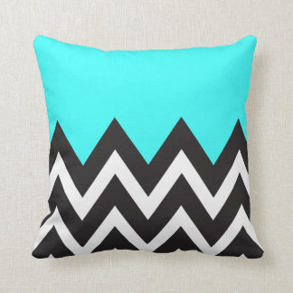 Mint Blue with black and white Chevron Throw Pillow