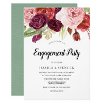 Mint Blush Burgundy Floral Engagement Party Invite