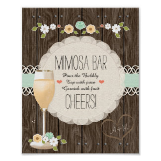 Mint Boho Rustic Wedding Bridal Shower Mimosa Bar Poster