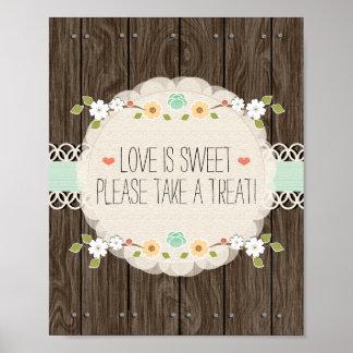 Mint Boho Rustic Wedding Shower Candy Bar Sign Poster