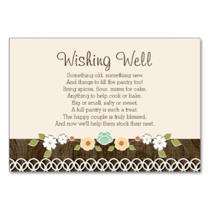 mint boho rustic wedding shower wishing well card