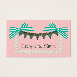 Mint bow custom color crafts sewing business card