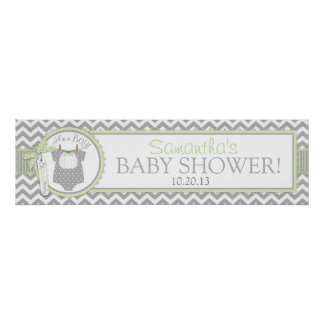 Mint Bow Tie & Chevron Print Baby Shower Banner