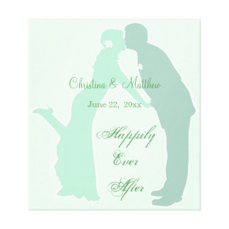 Mint Bride and Groom Canvas Prints