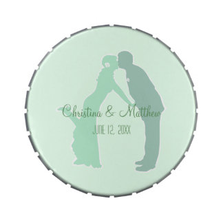 Mint Bride and Groom Jelly Belly Candy Tin