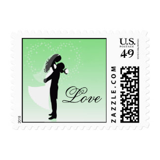 Mint Bride And Groom Silhouette Love Postage