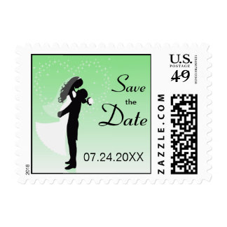 Mint Bride And Groom Silhouette Save The Date Postage Stamp