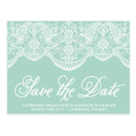 Mint Brocade Lace Save the Date Postcard