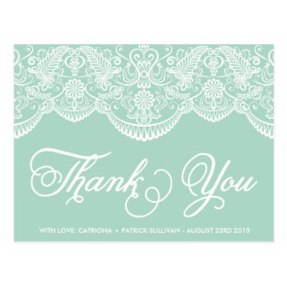 Mint Brocade Lace Wedding Thank You Postcard