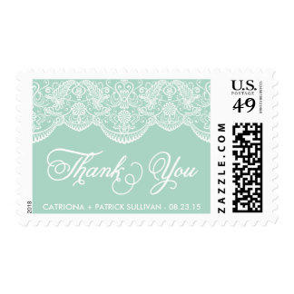 Mint Brocade Lace Wedding Thank You Sticker Postage