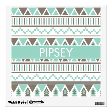 Aztec Themed Mint Brown Aztec Tribal Custom Name Wall Sticker