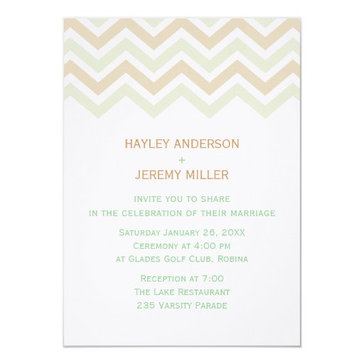 Mint & Brown Chevron Wedding Invitation