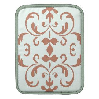 Mint Brown Damask Flourish Pattern Sleeve For iPads