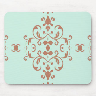 Mint Brown Damask Flourish Pattern Mouse Pad