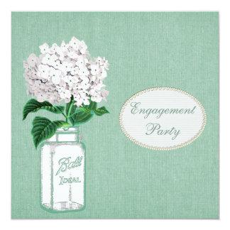 Mint Burlap, Mason Jar & Hydrangea Engagement Card